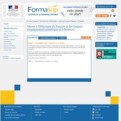 Master 1 Didactique du français et des langues (enseignement numérique et à distance)