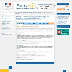Master 1 sciences du langage et didactique du Français - Parcours Didactique du FLE