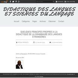 QUELQUES PRINCIPES PROPRES A LA DIDACTIQUE DE LA GRAMMAIRE DES LANGUES ETRANGÈRES - DIDACTIQUE DES LANGUES ET SCIENCES DU LANGAGE