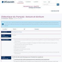 Didactiquedu français : lecture et écriture