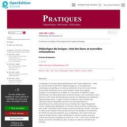 Didactique du lexique: état des lieux et nouvelles orientations