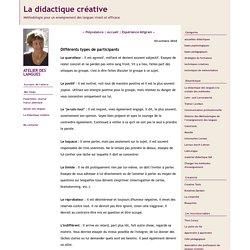 La didactique créative: Différents types de participants