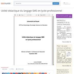 ⭐Utilité didactique du langage SMS en lycée professionnel