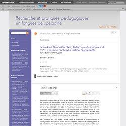 Jean-Paul Narcy-Combes, Didactique des langues et TIC: vers une recherche-action responsable