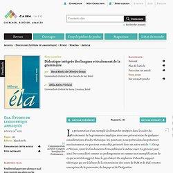 Didactique intégrée des langues et traitement de la grammaire