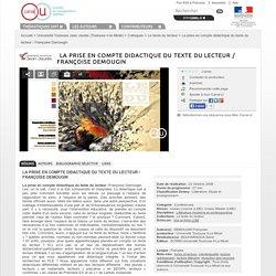 La prise en compte didactique du texte du lecteur / Françoise Demougin - Université Toulouse II-le Mirail