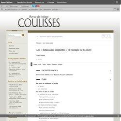 Les «didascalies implicites»: l'exemple de Molière