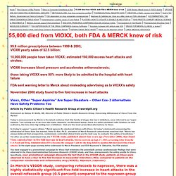 55,000 died from VIOXX, both FDA & MERCK knew of risk