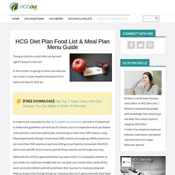 HCG Diet Plan Food List & Meal Plan Menu Guide