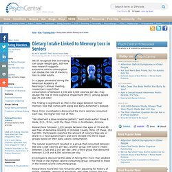 Dietary Intake Linked to Memory Loss in Seniors