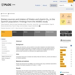 PLOS 15/12/17 Dietary sources and intakes of folates and vitamin B12 in the Spanish population: Findings from the ANIBES study