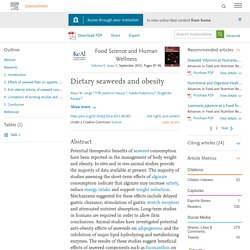 Dietary seaweeds and obesity