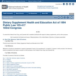 Dietary Supplement Health and Education Act of 1994