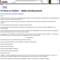 Ni Dieu ni Maître - Jiddu Krishnamurti - Vous y êtes