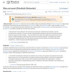 Dieu est mort (Friedrich Nietzsche)