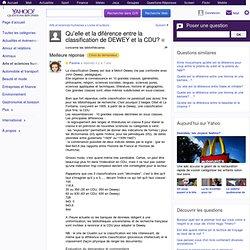 Qu'elle et la diférence entre la classification de DEWEY et la CDU? - Yahoo Questions/Réponses