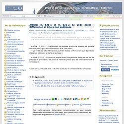 Articles R. 621-1 et R. 621-2 du Code pénal - Diffamation et injure non publiques