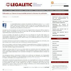 Diffamation sur Internet et responsabilité pénale du directeur de publication