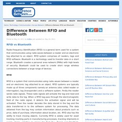Difference Between RFID and Bluetooth
