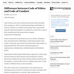Difference between Code of Ethics and Code of Conduct