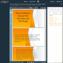 What is Difference between Web Developers and Web Design