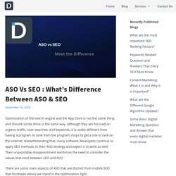 ASO Vs SEO : What's Difference Between ASO & SEO