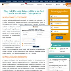 What Is Difference Between Migration And Transfer Certificate?