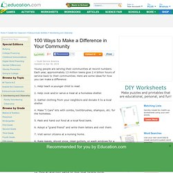 100 Ways to Make a Difference in Your Community