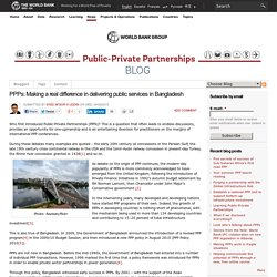 PPPs: Making a real difference in delivering public services in Bangladesh