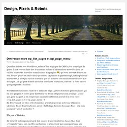 Différence entre wp_list_pages et wp_page_menu | Design, Pixels & Robots