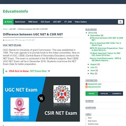 Difference between UGC NET & CSIR NET - Educationinfo