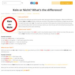 Kein or Nicht? What's the difference? « JabbaLab Language Blog