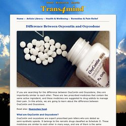 Difference Between Oxycontin and Oxycodone