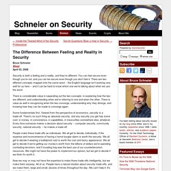 Essays: The Difference Between Feeling and Reality in Security - Schneier on Security