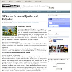 Difference Between Objective and Subjective | Difference Between | Objective vs Subjective