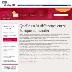 Quelle est la différence entre éthique et morale ? Site québécois