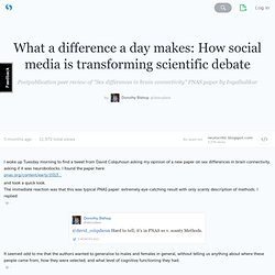 What a difference a day makes: How social media is transforming scientific debate (with tweets) · deevybee