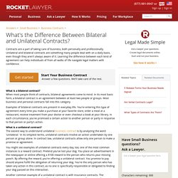 What's the Difference Between Bilateral and Unilateral Contracts?