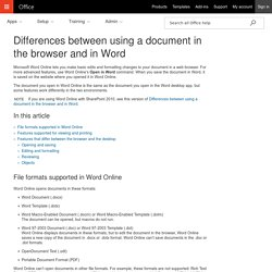 Differences between using a document in the browser and in Word - Word