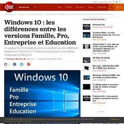 Windows 10 : les différences entre les versions Famille, Pro, Entreprise et Education