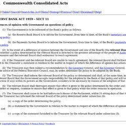 RESERVE BANK ACT 1959 - SECT 11 Differences of opinion with Government on questions of policy