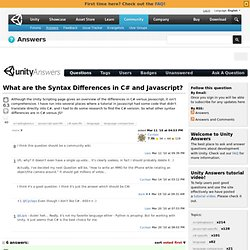 What are the Syntax Differences in C# and Javascript? - UnityAnswers
