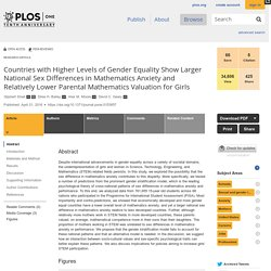 Countries with Higher Levels of Gender Equality Show Larger National Sex Differences in Mathematics Anxiety and Relatively Lower Parental Mathematics Valuation for Girls