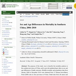 Sex and Age Differences in Mortality in Southern China, 2004–2010
