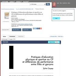 Pratiques d'éducation physique et sportive au CP et différences de performance entre filles et garçons on JSTOR