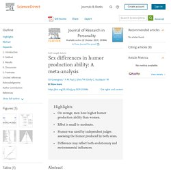 Sex differences in humor production ability: A meta-analysis
