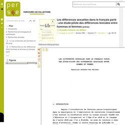 Les différences sexuelles dans le français parlé : une étude-pilote des différences lexicales entre hommes et femmes