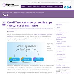 Key differences among mobile apps - web, hybrid and native
