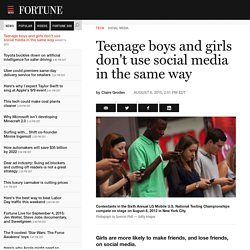 Study Finds Gender Differences in Teenage Technology Use - Fortune
