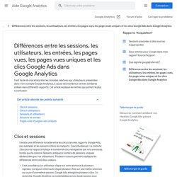 Différences entre les sessions, les utilisateurs, les entrées, les pages vues, les pages vues uniques et les clics AdWords dans GoogleAnalytics - Centre d'aide GoogleAnalytics